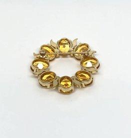 14kt 16ctw Golden Citrine Circle Pin