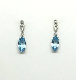 14kt Aquamarine & Diamond Earrings
