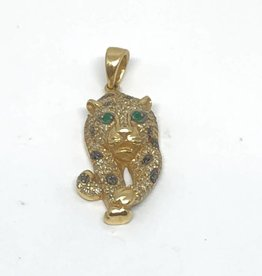 14Kt EFFY Panther Diaomnd and Emerald Pendant