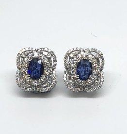 18kt Diamond and Sapphire Earrings