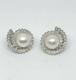 14kt Pearl and Diamond Earrings