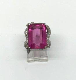 18kt Pink Tourmaline and Diamond Ring