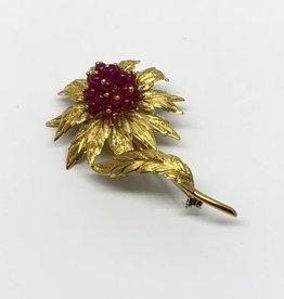 "C 18kt Flower Pin Italy ""V"""