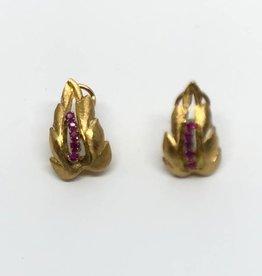 C 18kt Leaf Earrings with Rubies