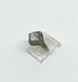 14kt Aquamarine Filigree Ring