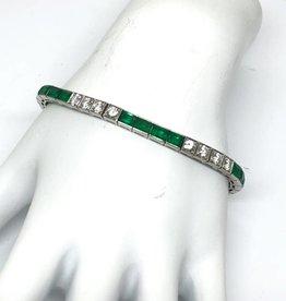 C Platinum Diamond and Emerald Bracelet