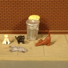 Bachmann 33157 Cats with Garbage Can, O Scale