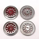"Model Engineering Works AO-1000 AF Red Electric ""O"" Gauge Wheel Set, 4Pcs"