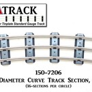 "USA Track LLC 150-7206 72"" Diameter Curve Track, 6-ties, USA"