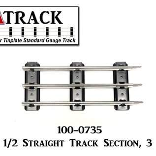 "USA Track LLC 100-0735  7"" 1/2 Straight Track Section, 3-ties, USA"