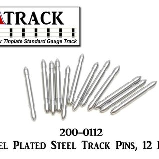 USA Track LLC 200-0112 Nickel Plated Std/O Gauge Steel Track Pins, 12 Pcs.