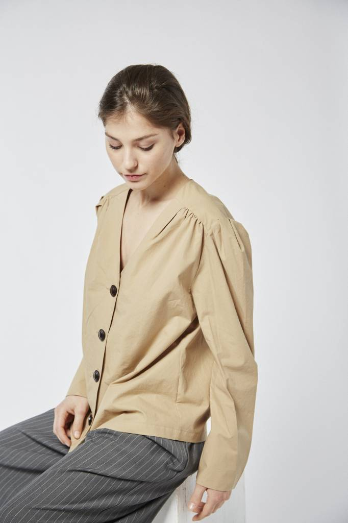 Avenue Khaki Buttoned Down Cotton Shirt