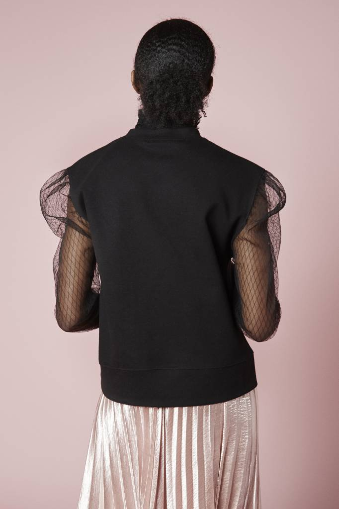 Hummingbird Eva lace Sleeved Black Top