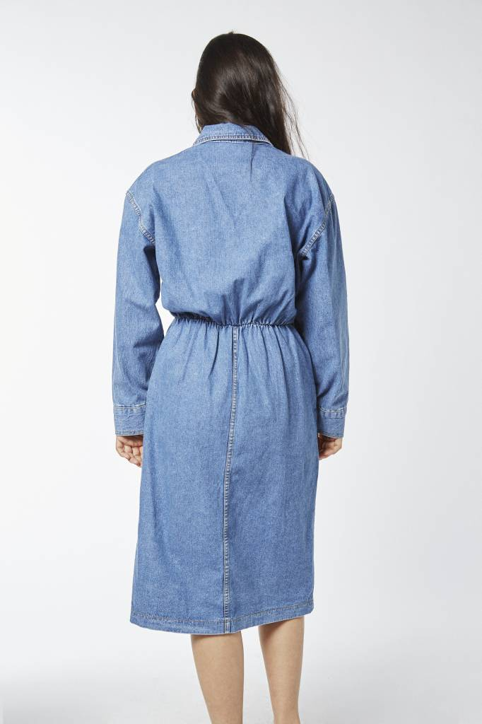 Coat on Coat Stretch Denim Shirt Dress