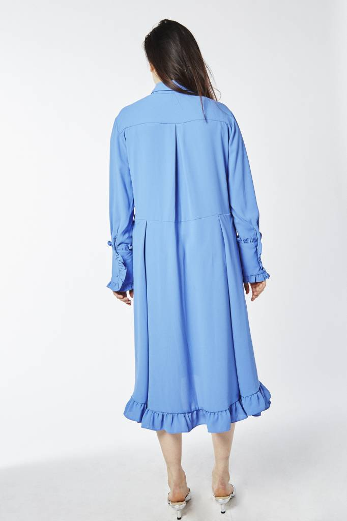 FAV Asymmetric Ruffled Blue Dress