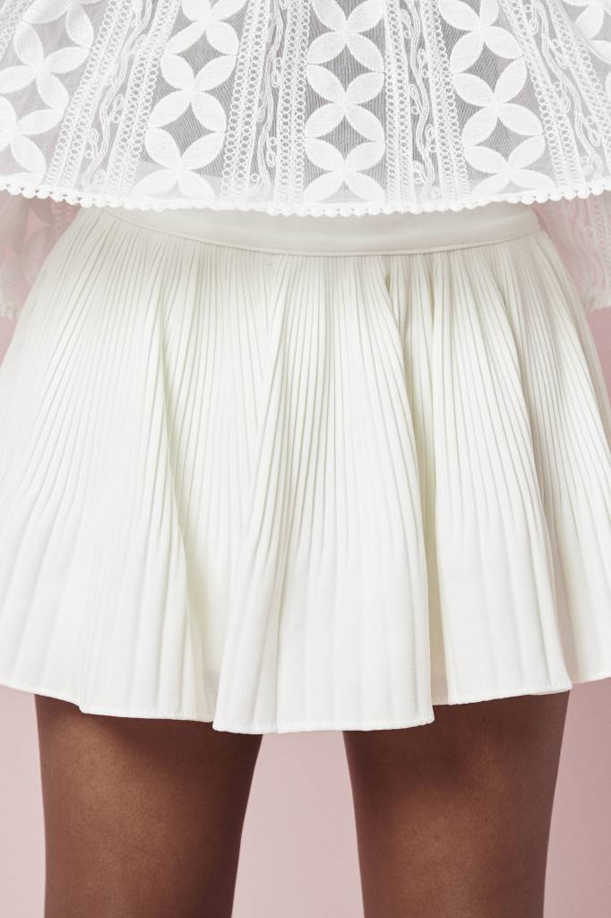 Erica Pleated Mini White Shorts