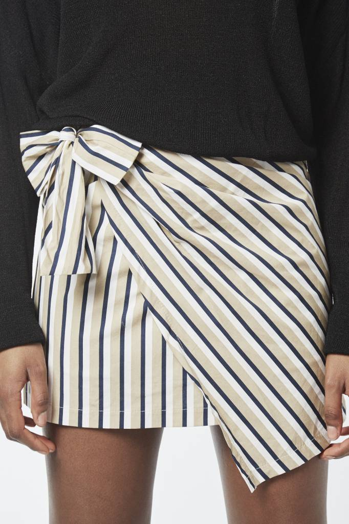 Erica Striped Beige Mini Wrap Skirt