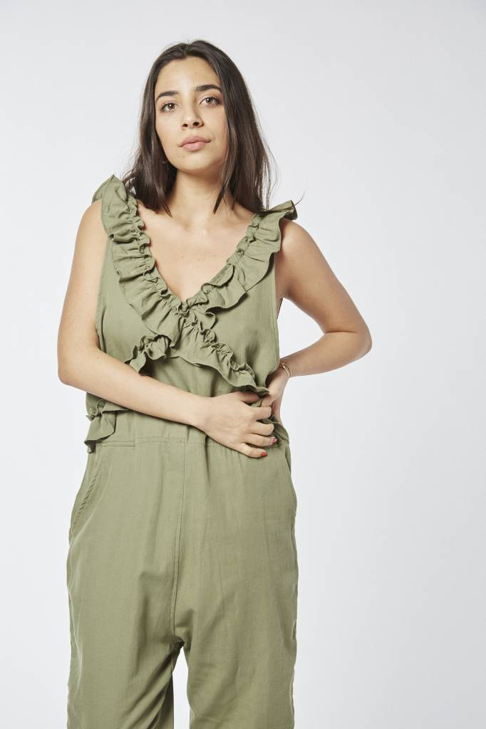 Lovely Lively Ruffled Green Jumpsuit
