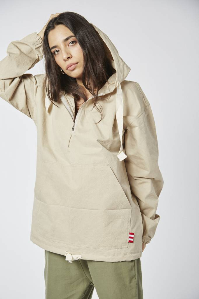 Lovely Lively Hooded Pullover Beige Jacket