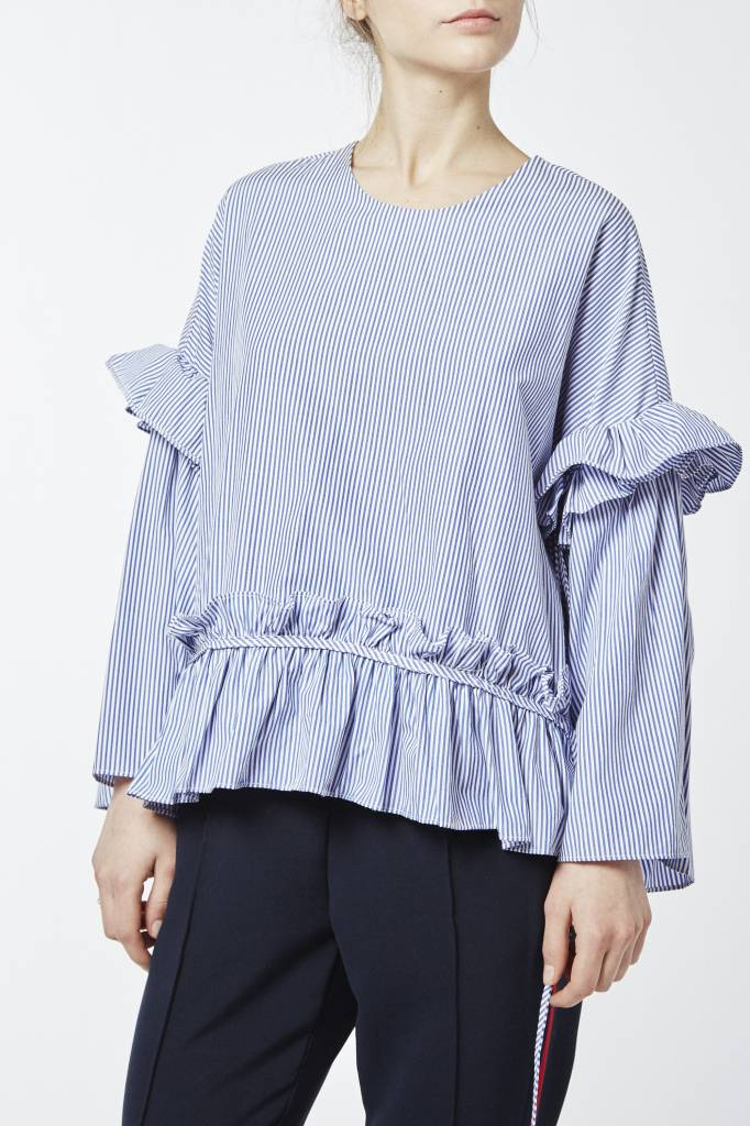 Corner 302 Grace Ruffled Blue Striped Top