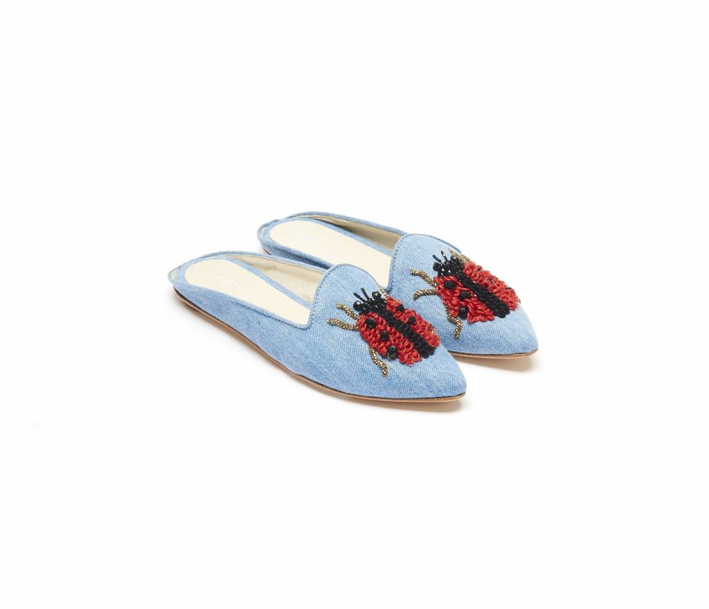 ViaVela ViaVela14 Denim Embroidered Lady Bug Slides