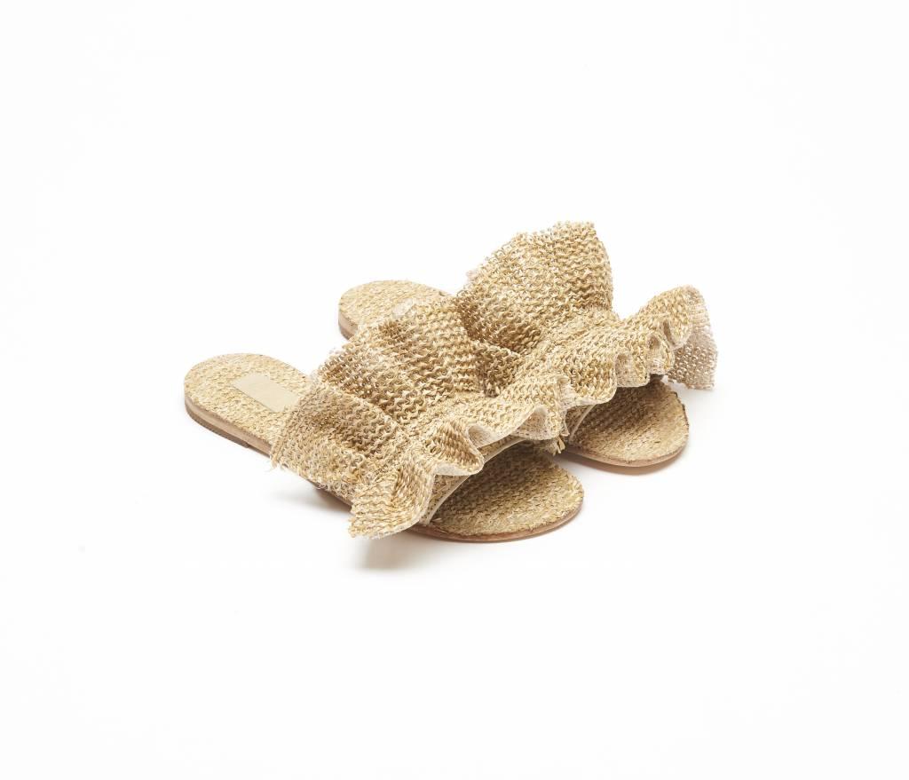 ViaVela ViaVela14 Ruffled Raffia Sandals