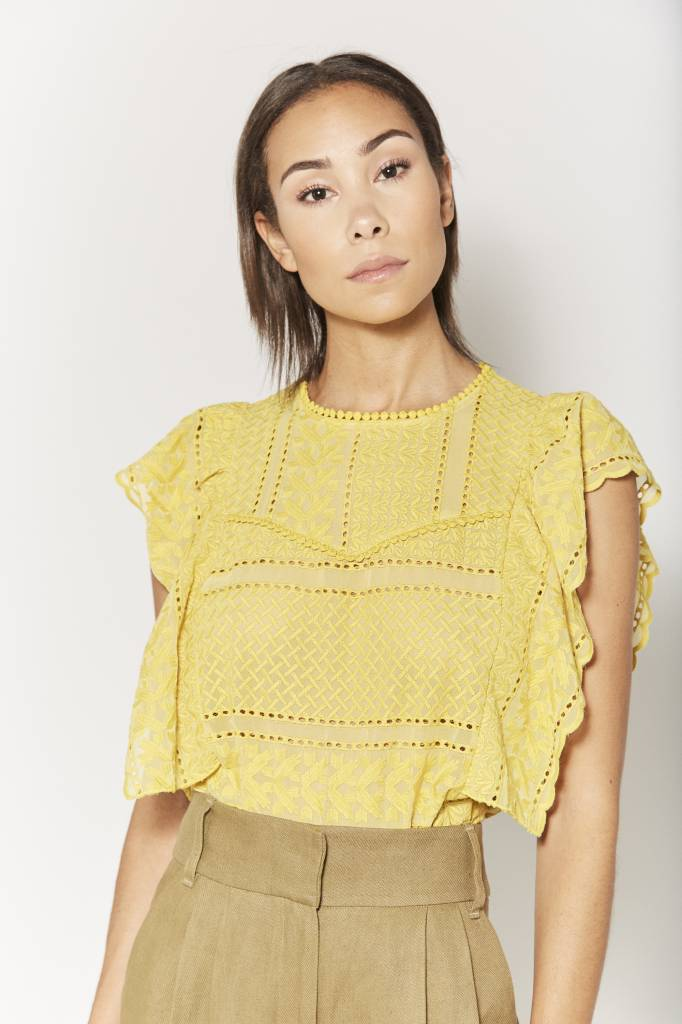 Corner 302 Jane Embroidered Yellow Top