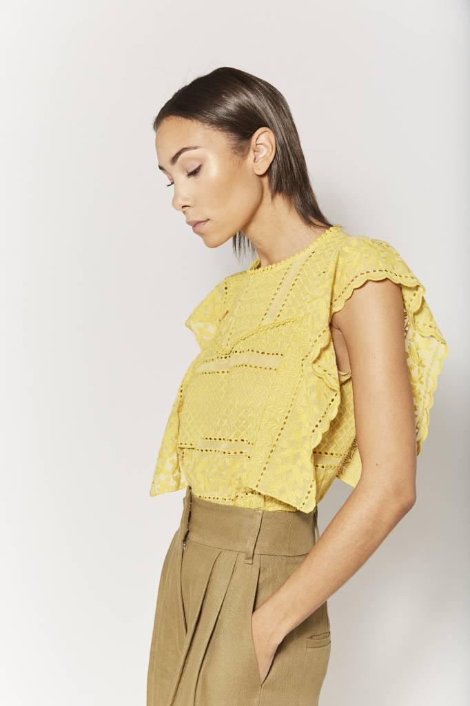 Corner 302 Jane Embroidered Yellow Top