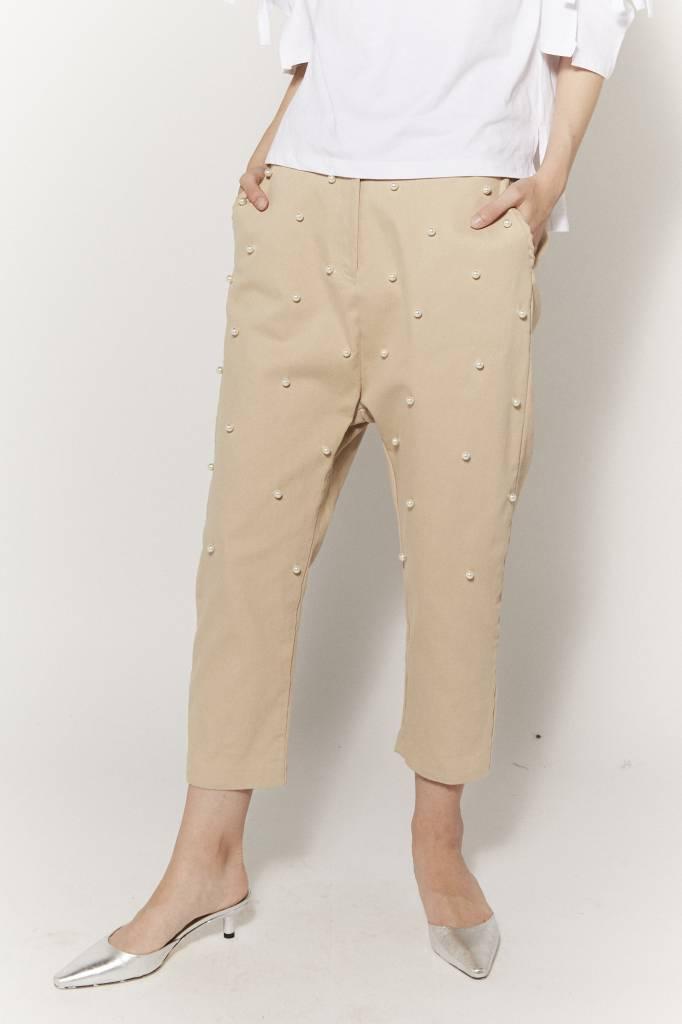 d.r concept Pearl Embellished Beige Pant