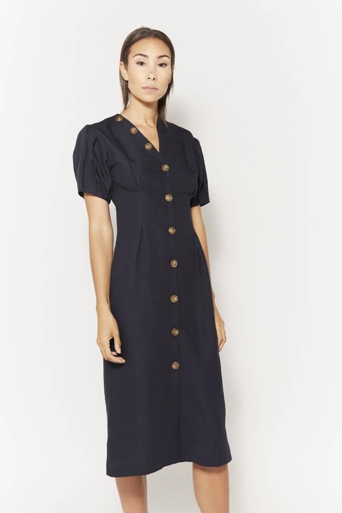 Coline Giovanna Navy Linen Dress