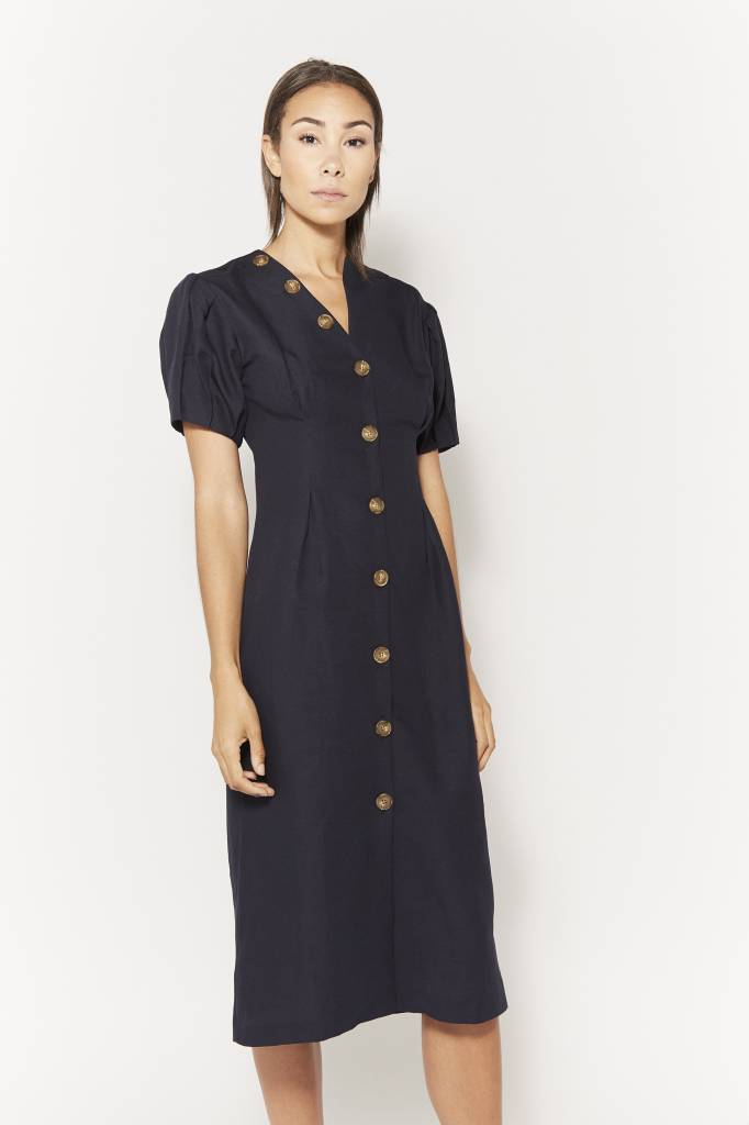 Coline Giovanna Navy Linen Dress
