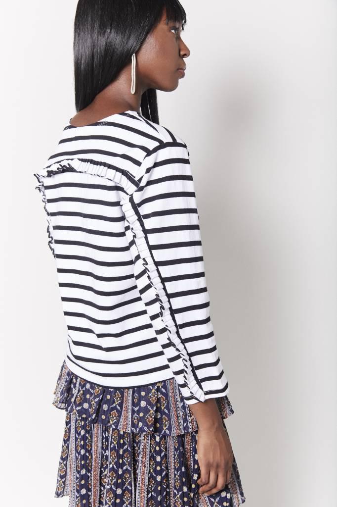 FAV Ruffled Back Striped Top