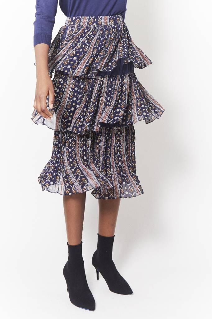 Erica Anna Navy Print Skirt