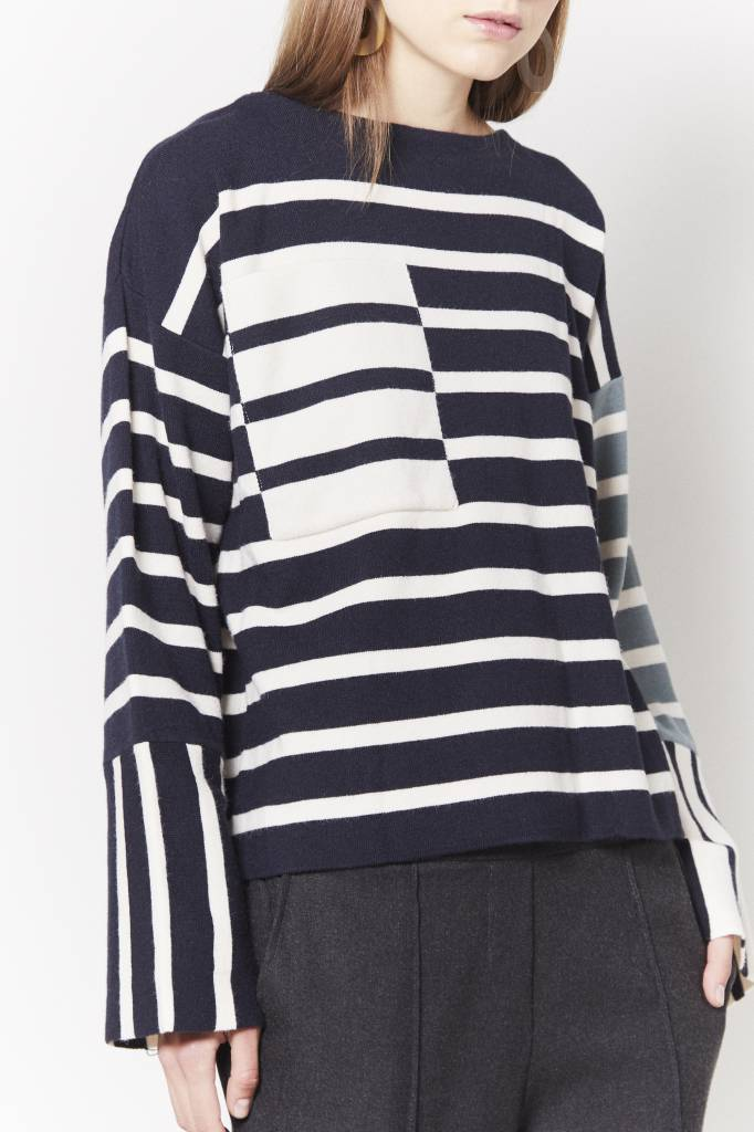 Avenue Selena Striped Sweater
