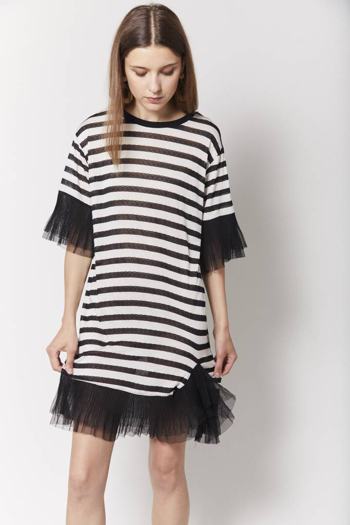 6 & Ruffled Striped Tulle Dress