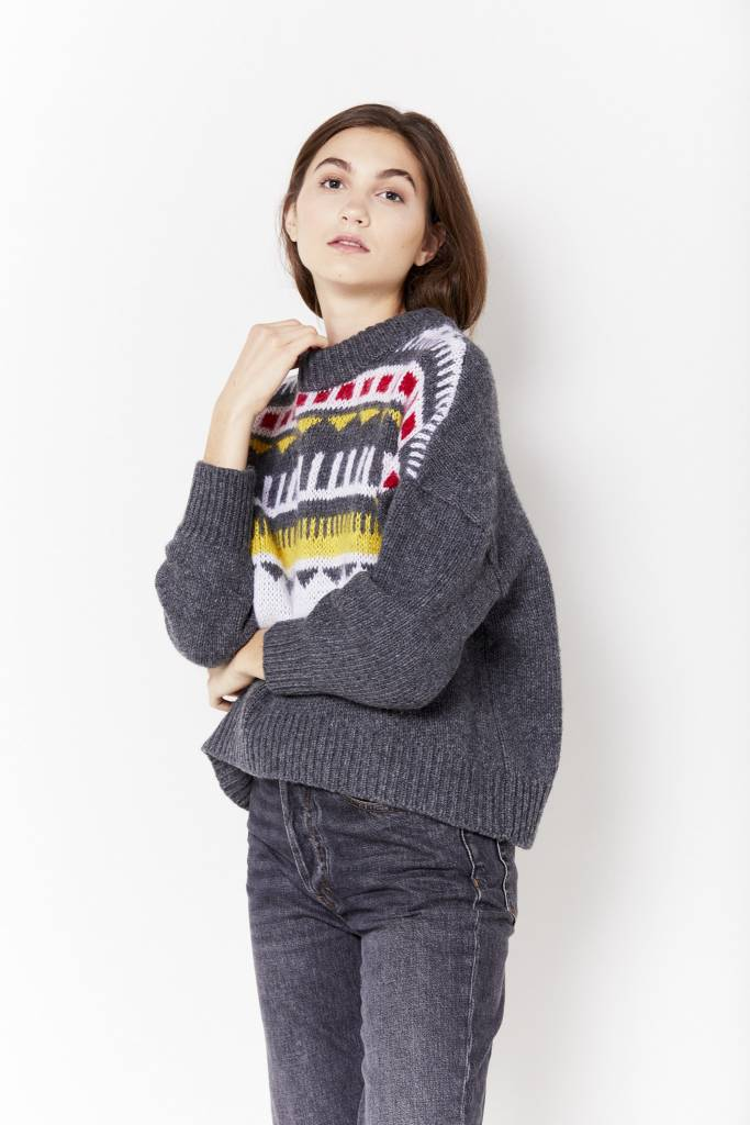 Mini Dress Graphic Grey Sweater