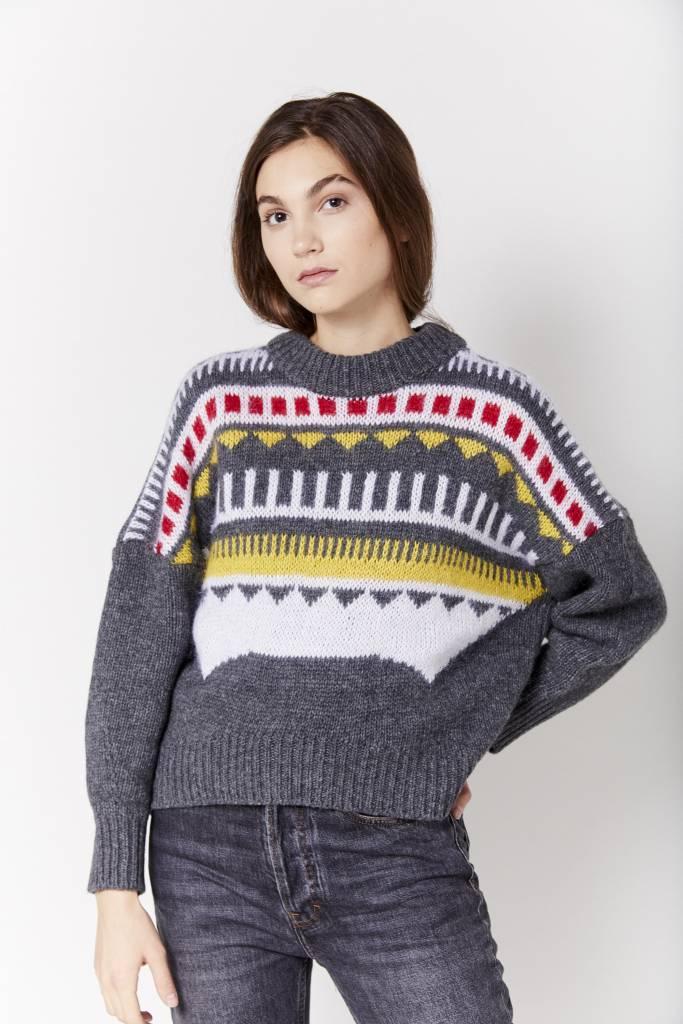 Mini Dress Graphic Grey Sweater