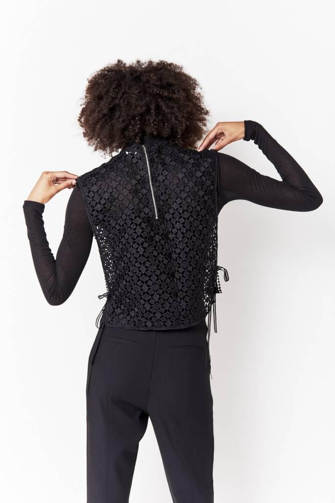 Vegas Lisa Black Lace Vest