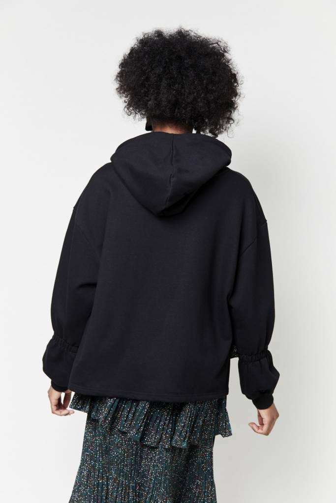 Tarrot Oversized Hooded Black Sweatshirt