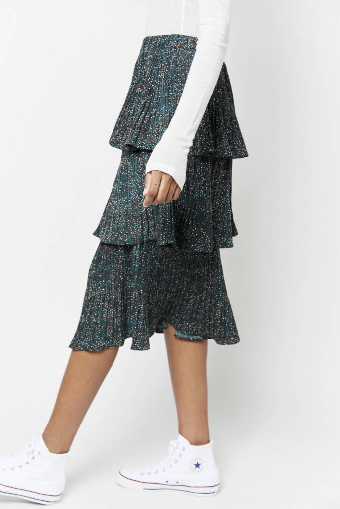 Erica Anna Ruffled Green Skirt