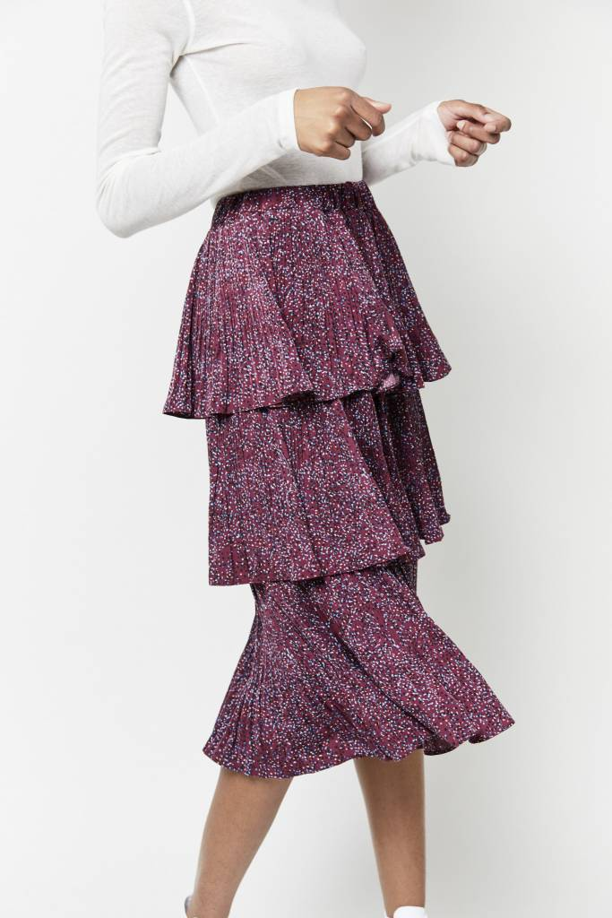 Erica Anna Ruffled Wine Skirt