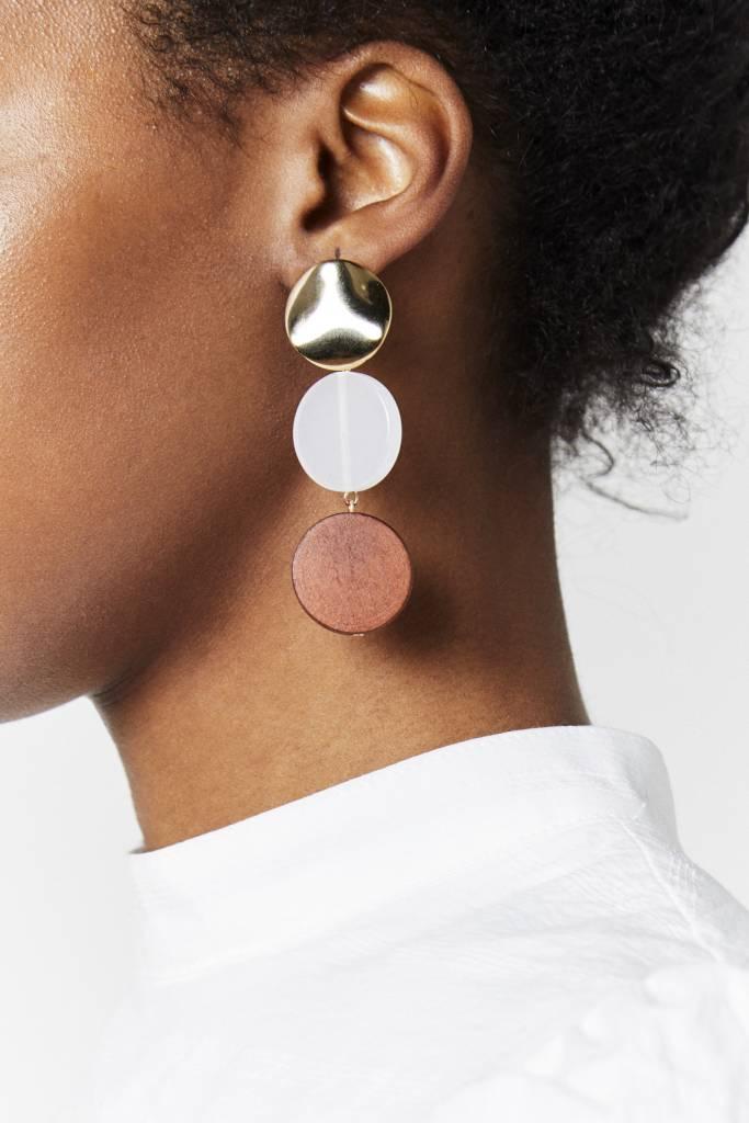 Gold, Clear, Wood Earrings