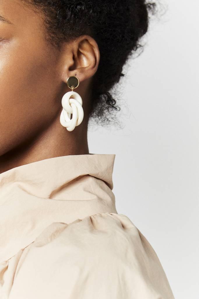 White Triple loop Earrings