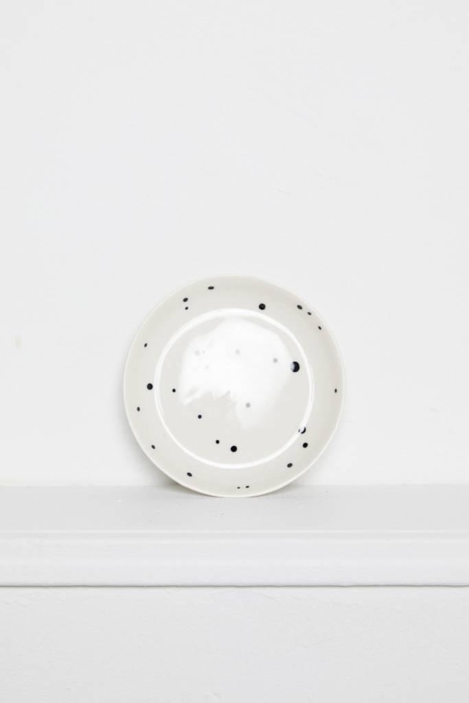 Franca Franca Small Finca Plate-Dot Black and White