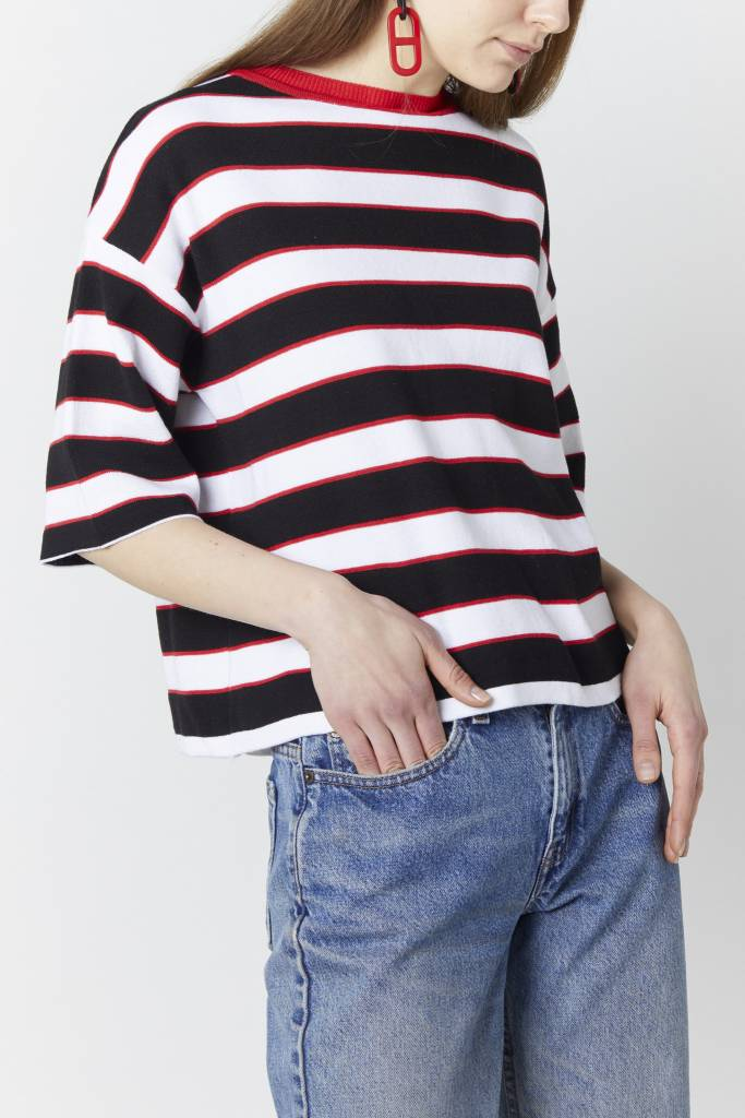 Doreen Striped Red Knit Top