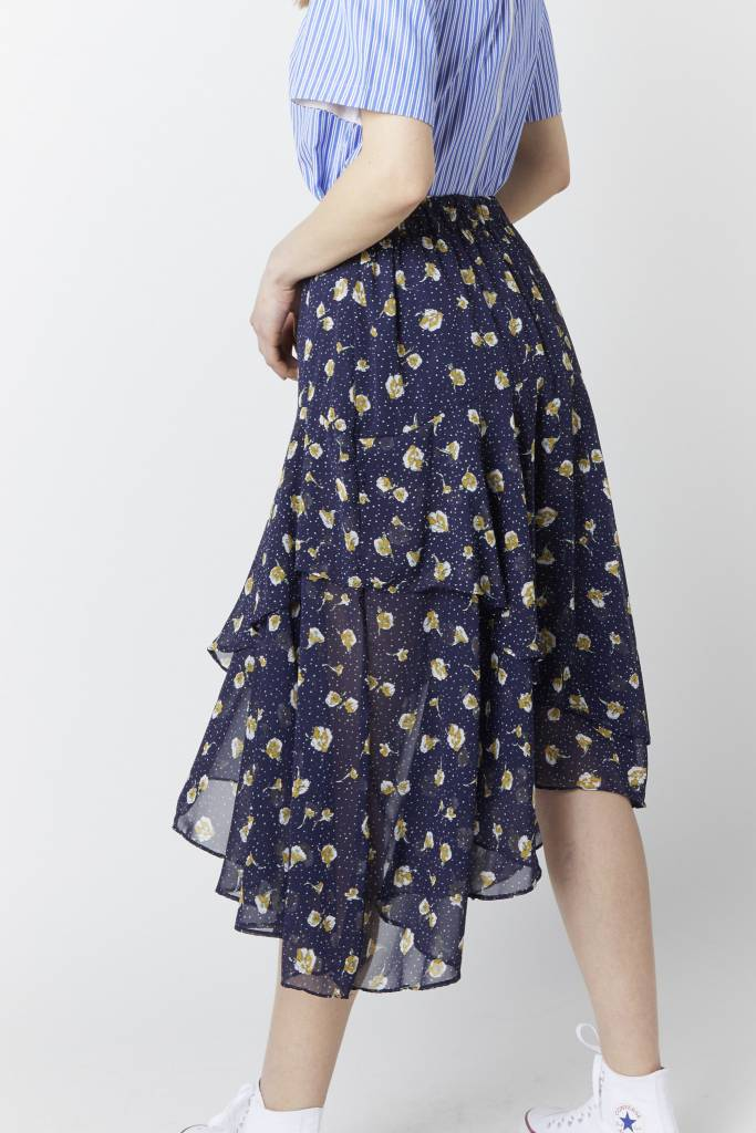 Erica Asymmetrical Floral Skirt