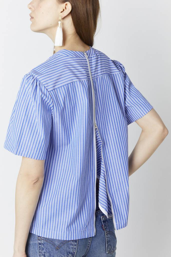 FAV Striped Back Zipper Blouse