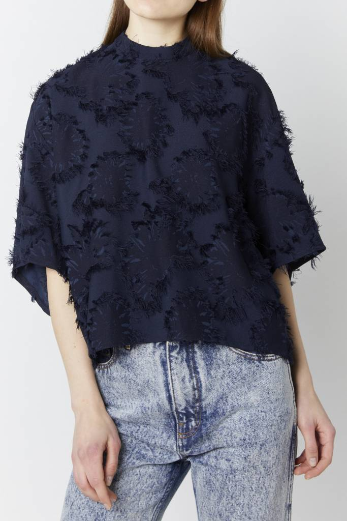 Vegas Moje Embellished Navy Top