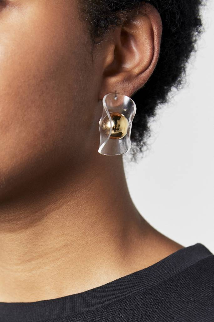 NYU.NYU Clear Gold Ball Earrings