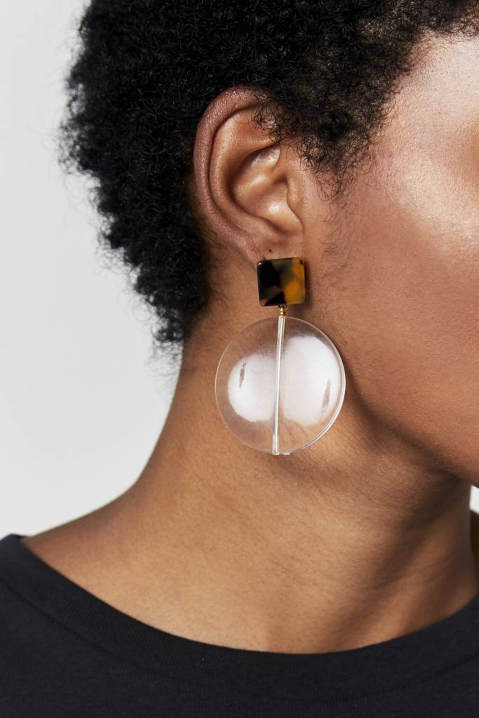 NYU.NYU Clear Circle Earrings